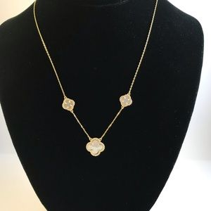 14k GP Mother of Pearl Clover Necklace